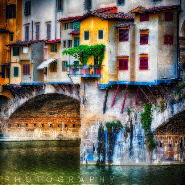 Small Balcony on a Bridge House, Ponte Vecchio, Florence, Tuscany, Italy