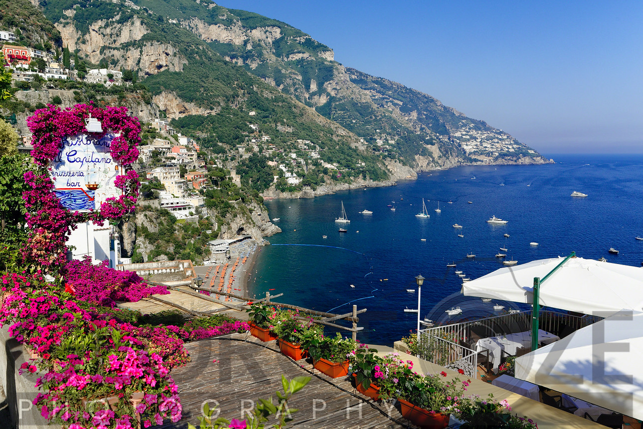 High Angle View of a Beach and Coast from a Hillside Terrace, Positano, Campania, Italy