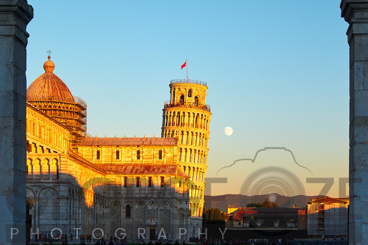 Church Sqaure of Pisa with the Cathedral and Leaning, Tower, Tuscany, Italy