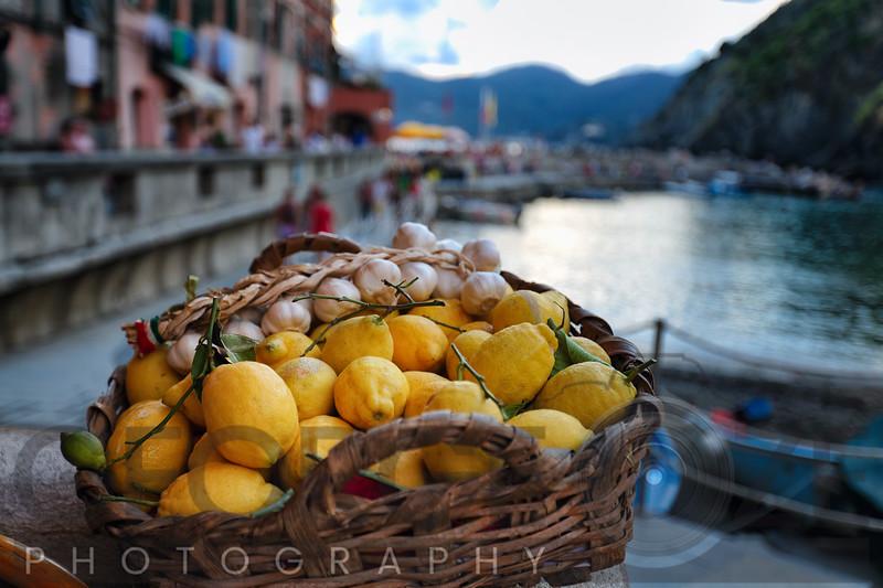 Basket Full of Lemon and Garlic, Vernazza, Liguria, Italy