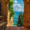 Arch with the View of the Tuscan Countryside, Pienza, Tuscany, Italy