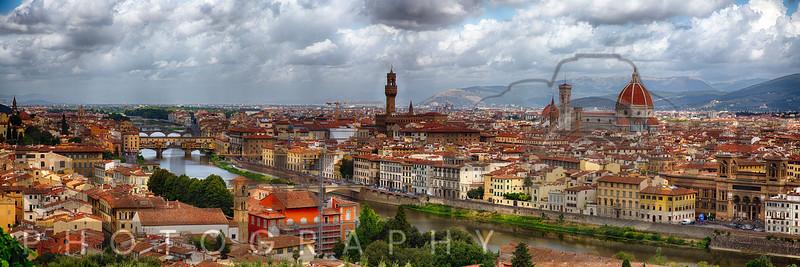 High Ang;le Daytime Panorasma of Florence, Tuscany, Italy