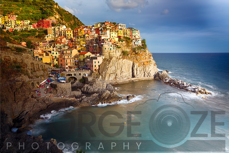 Small Town on the Cliff in After Storm Light, Manarola, Cinque Terre, Liguria, Italy