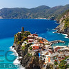 High Angle View of a Small Coastal Town on a Cliff, Vernazza, Cinque Terre, Liguria, Italy