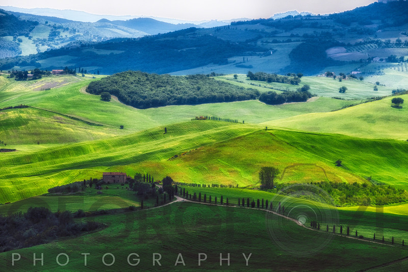 Rolling Hills with Farms, Val d'Orcia, Tuscany, Italy