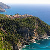 High Angle View of a Small Town on a Cliff at Seaside, Corniglia, Cinque Terre, Liguria, Italy
