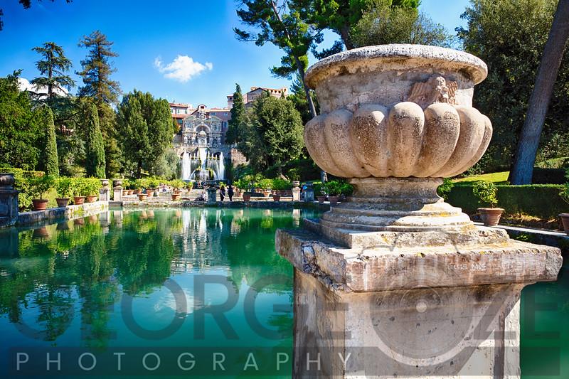Villa Garden with a Pond and Fountain, Tivoli, Italy
