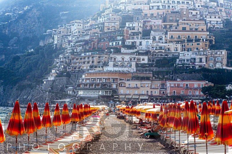 Beach Umbrellas on a Beach, Positano, Amalfi Coast, Campania, Italy