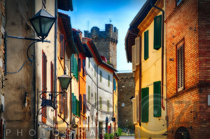 Street in Montalcino with the Castle Tower, Tuscany Italy