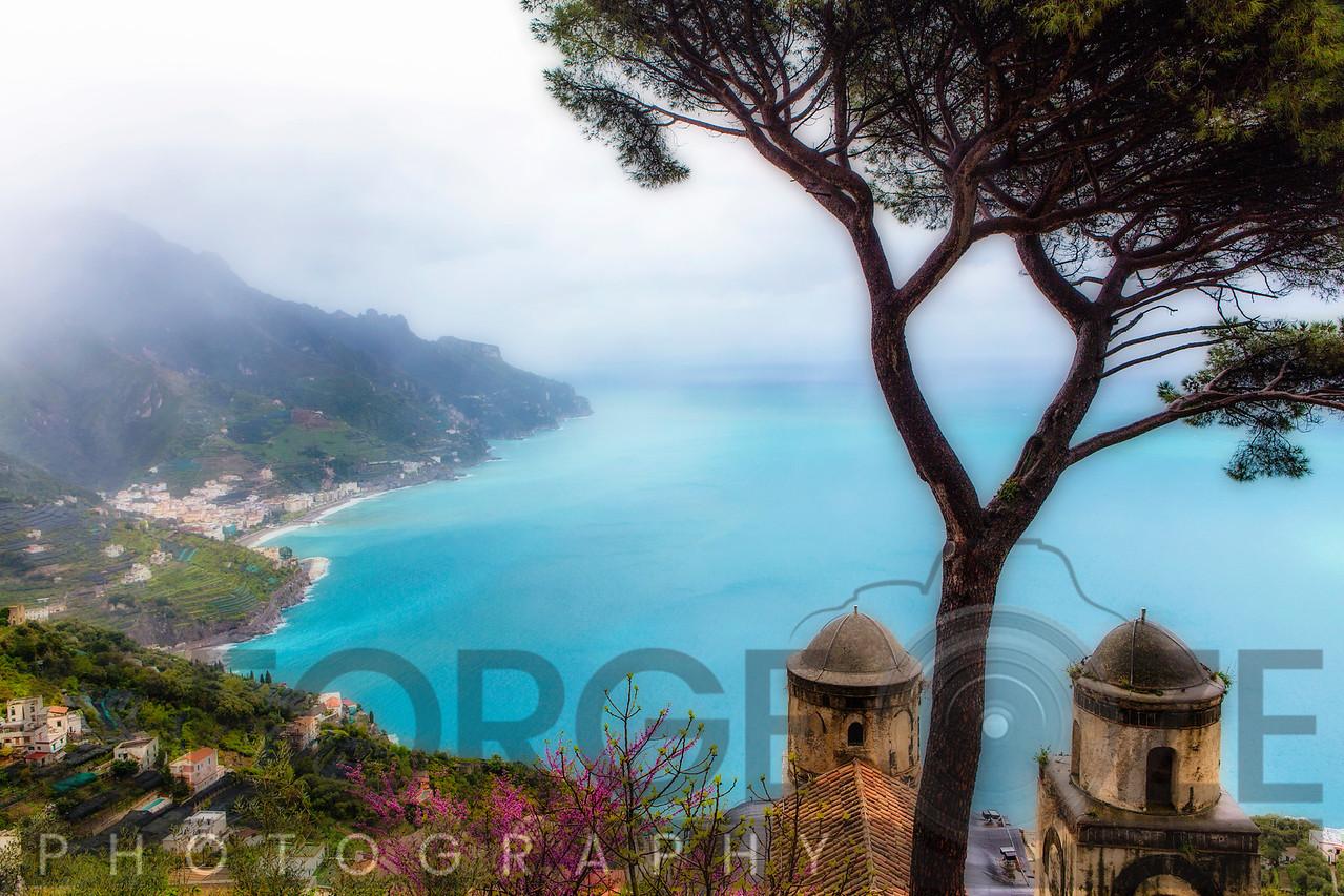 High Angle View of the Amalfi Coast at Ravello, Campania, Italy
