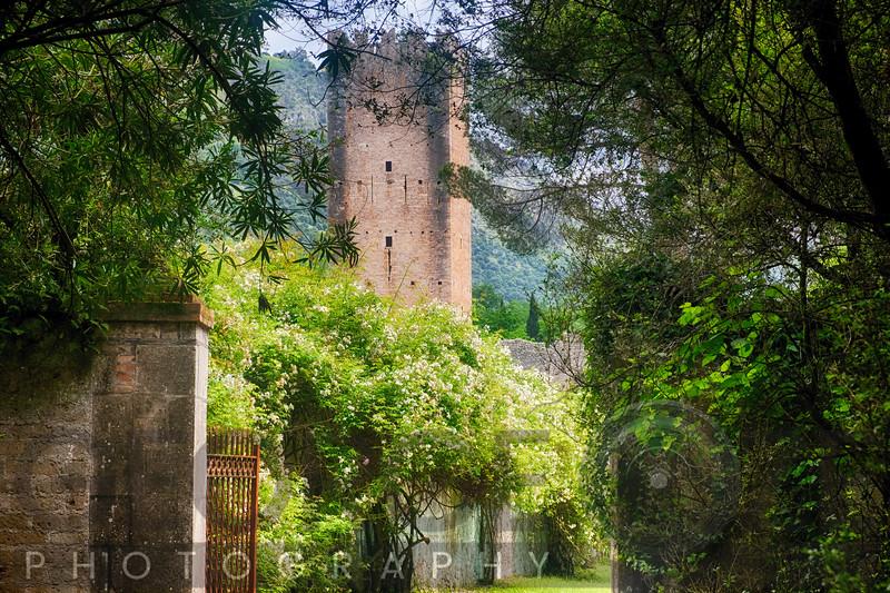 Garden Entarnce with a Medieval Tower, Garden of Ninfa, , Italy