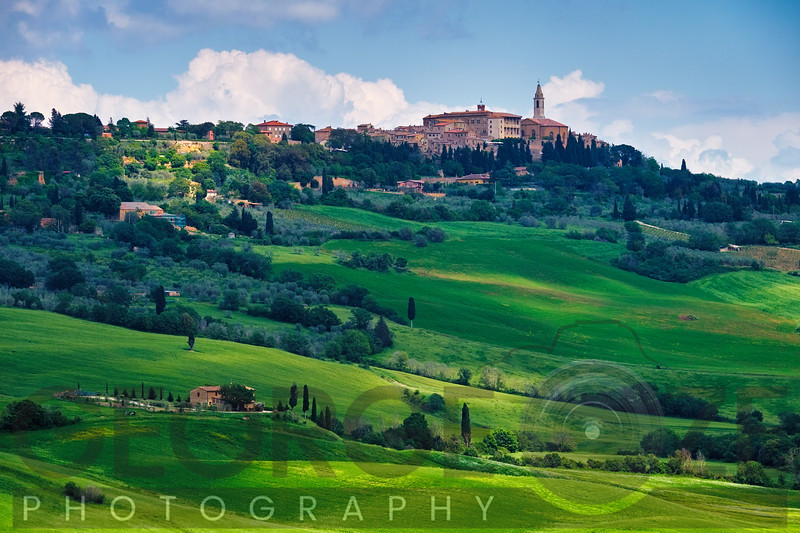 Low Angle View of Pienza in a Tuscan Countryside, Italy