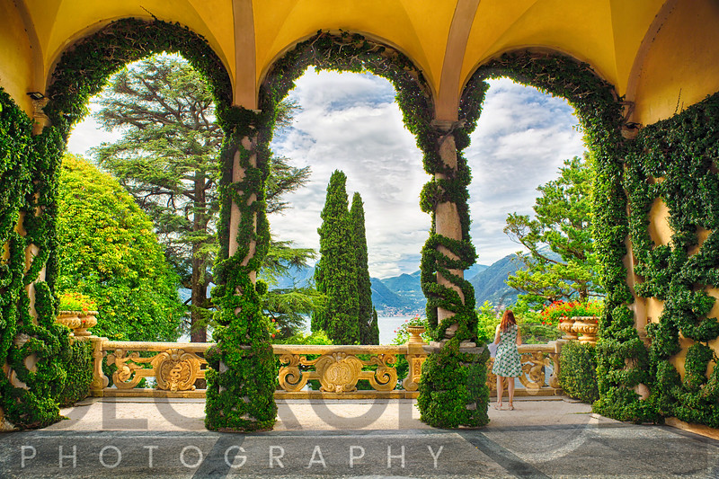 Lake View Through the Arches of a Villa Terrace