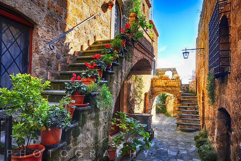 House Entrance in an Ancient Town, Umbria, Italy