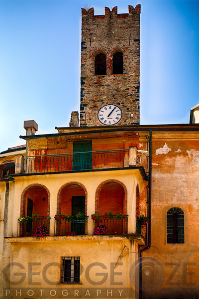 Low Angle View of a Clocktower and Balcony, Monterosso Al Mare, Cinque Terre, Liguria, Italy
