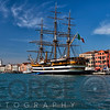 View of Venice Harbor with the Tall Ship Amerigo Vespucci, Veneto, Italy