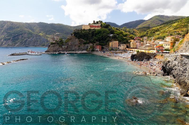 High Angle view of a Coastal Town, Monterosso Al Mare, Cinque terre, Liguria, Italy
