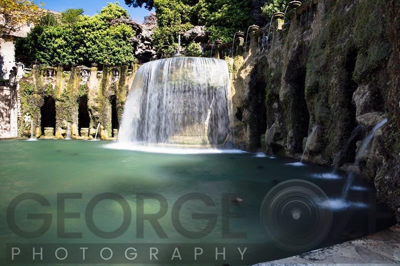 Waterfall  and Fountains in  Villa d'Este, Tivoli, Lazio, Italy