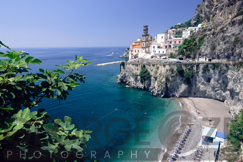 High Angle View of a Beach at the Amalfi Coast, Amalfi, Campania, Italy