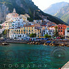 View of Amalfi Town from the Harbor Pier, Campania, Italy