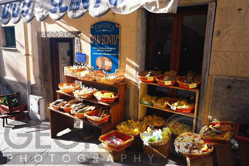 Dispaly of a Small Outdoor Market, Riomaggiore, Cinque Terre, Liguria, Italy