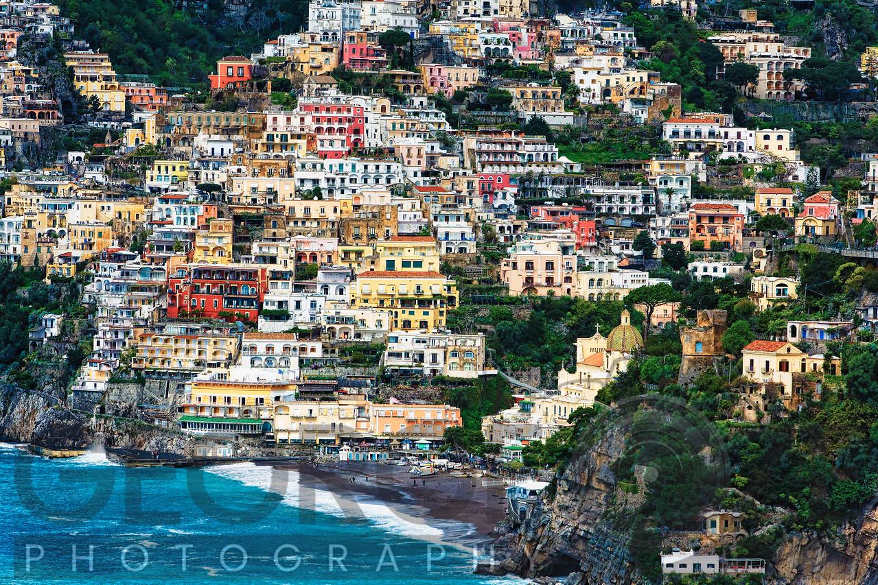 Positano Houses and Beach from A bove, Amalfi Coast, Campania, Italy
