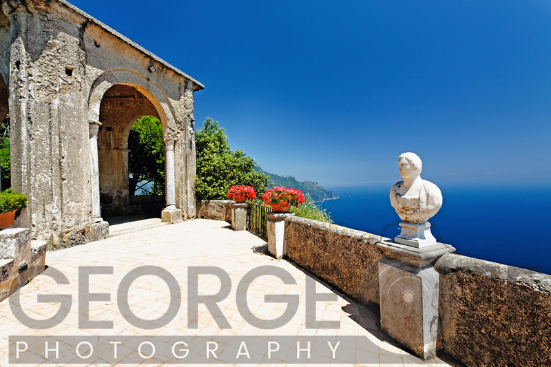 Amalfi Coast Vista from a Terrace, Villa Cimbrone, Ravello, Campania, Italy