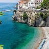 High Angle View of a Beach at the Amalfi Coast, Amalfi, Campania, Italy