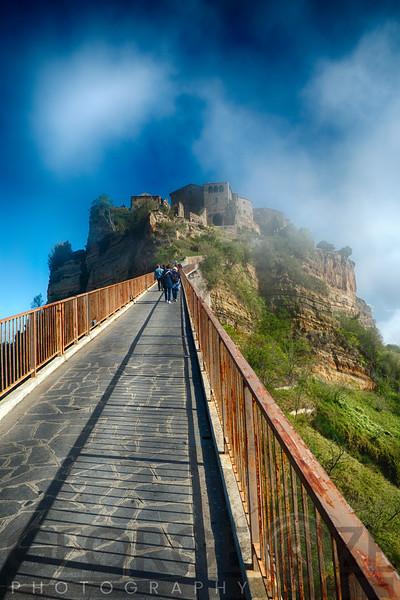 Walkway Leading Up to a Hilltop Town, Civita di Bagnoregio, Italy