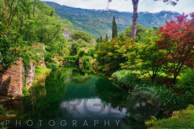 Creek in a Garden with Historic Ruins, Nimfa Garden, Latina, Italy