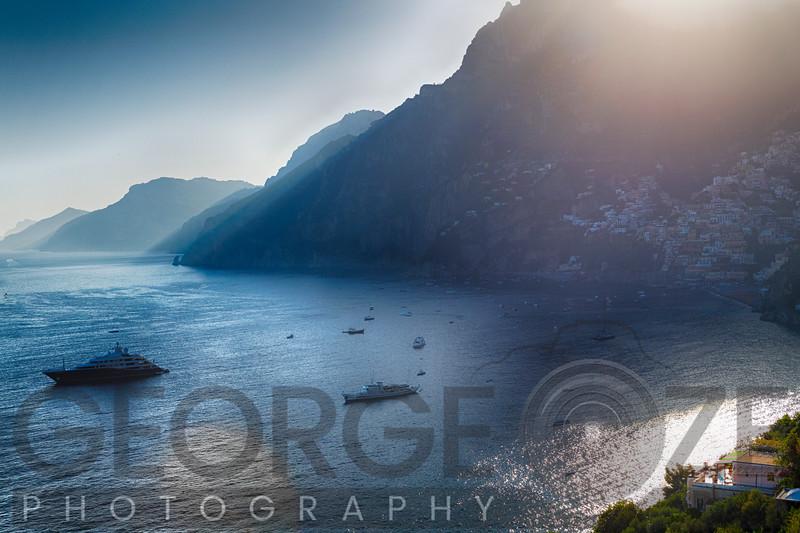 Sunrays on the Amalfi Coast, Positano, Campania, Italy