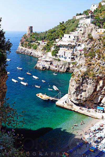 Looking Down to a Small Beach at the Amalfi Coast, Praiano, Campania, Italy