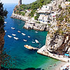Looking Down to a Small Beach at the Amalfi Coast, Praiano, Campania, Italy