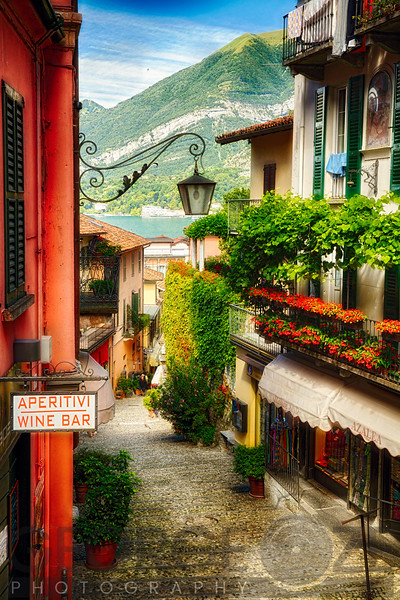 High Angle View of a Narrow Street with Balconies and Shops, Bellagio, Lake Como, Lombardy, Italy