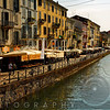View of the Grand Canal with Outdoor Cafes, Milan,Lombardy, Italy