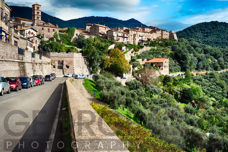Low Angle View of a Hill Top Medieval Town, Sermoneta, Latina, Italy