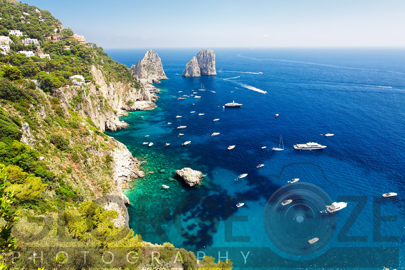High Angle View of Coastline, Faraglioni Rocks, Capri, Campania, Italy