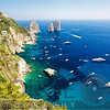 High Angle View of Coastline, Faraglioni Rocks, Capri, Campania, Italy