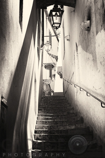 Shadow and Light on the Stairs of an Alley, Amalfi, Campania, Italy