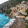 High Angle Close Up View of the Beach and Town of Positano, Campania, Italy