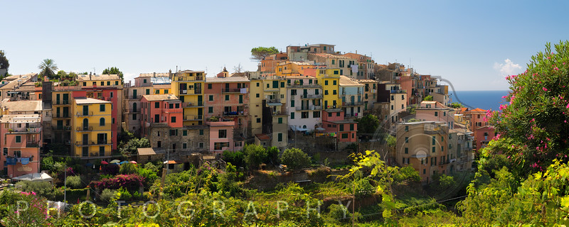 High Angle Panormaic View of a  Coastal Towm, Corniglia, Cinque Terre, Liguria, Italy