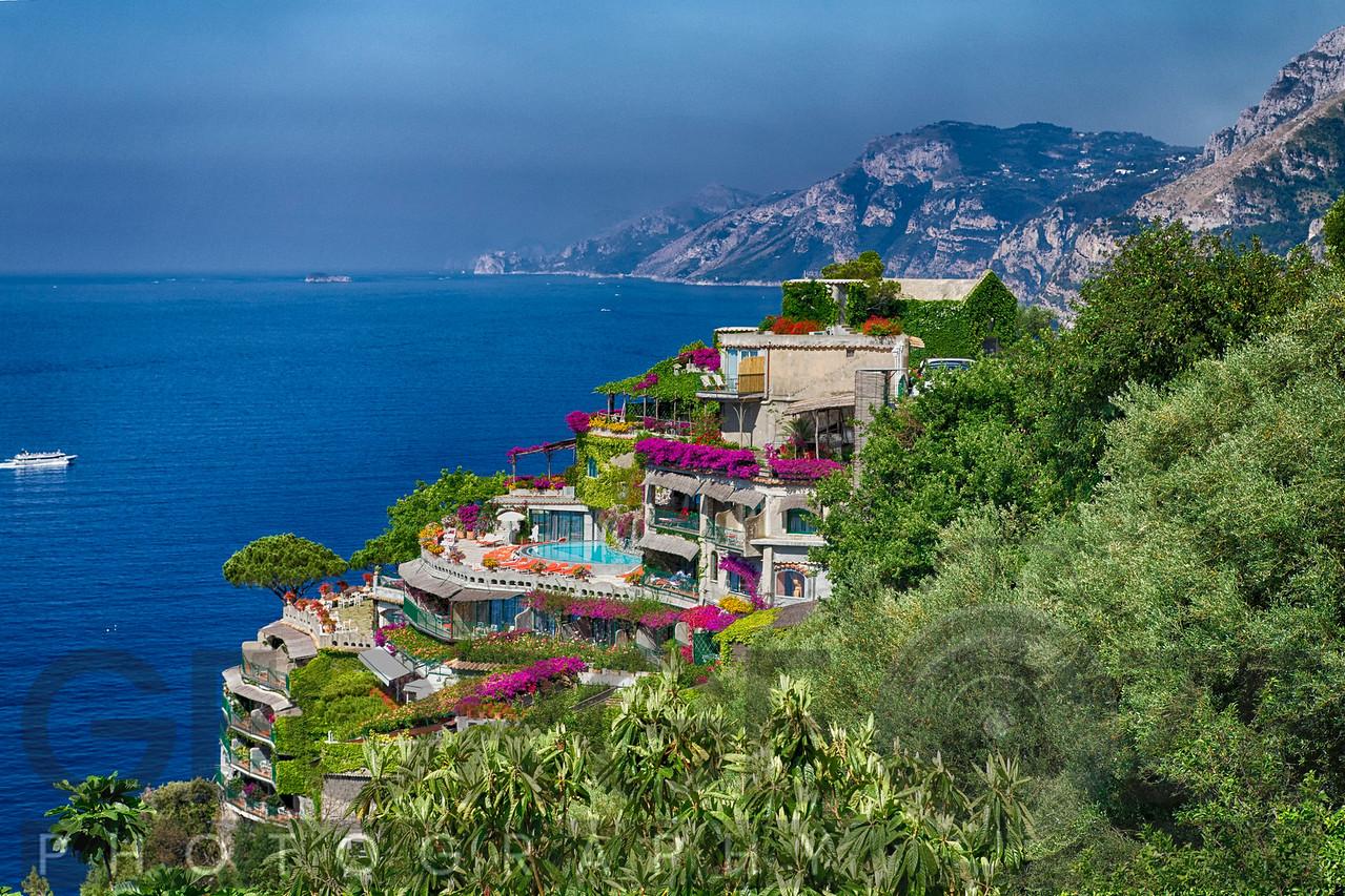 High Angle View of a Luxury Hotel IL San Pietro, Positano, Campania, Italy