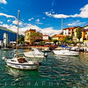 Low Angle View of the Varenna Harbor on Lake Como, Lombardy, Italy