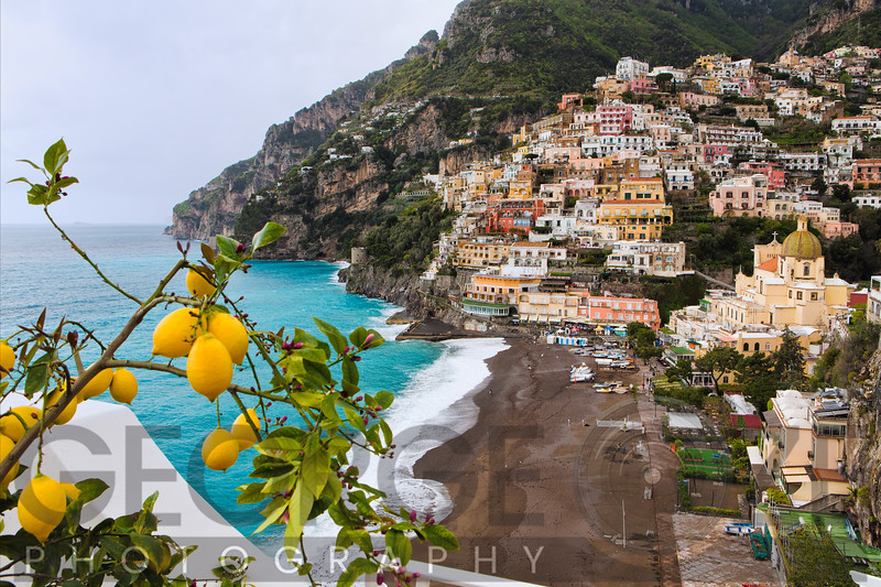 High Angle View of a Hillside Town, Positano, Campania, Italy