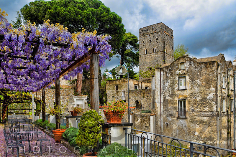 Terrace with Pergola and Blooming Wisteria, Villa Rufulo,Ravello,  Salerno County, Italy