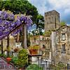 Terrace with Pergola and Blooming Wisteria, Villa Rufulo,Ravello,  Salerno County, Italy