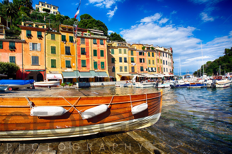 Low Angle View of  Colorful Buildings in a Harbor, Portofino, Liguria, Italy