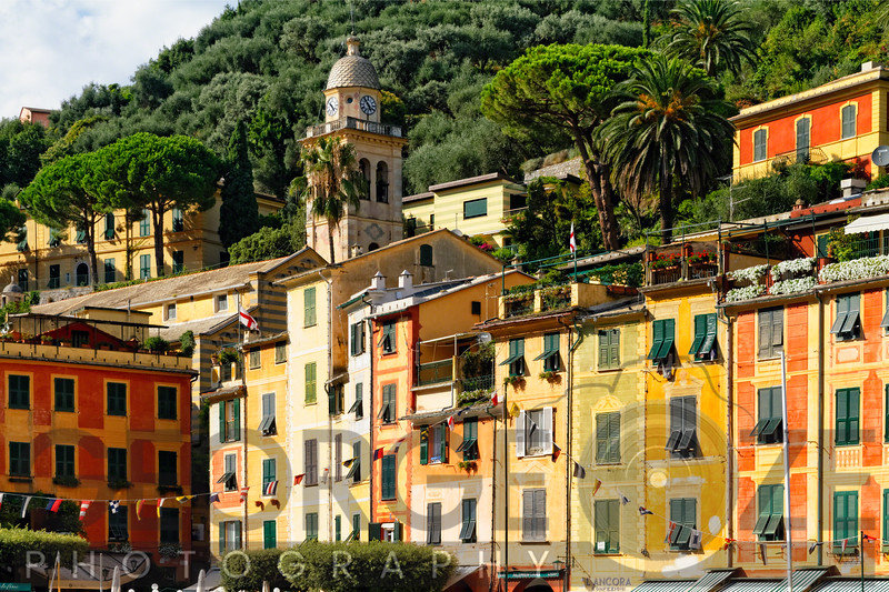 Close Up View of Colorful House Facades and a Bell Tower, Portofino, Liguria, Italy