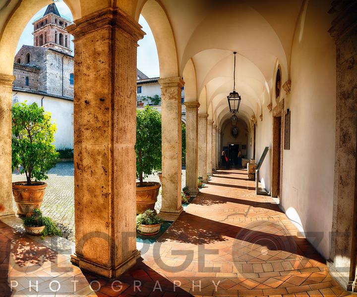 Courtyard of Villa D'Este, Tivoli, Lazio, Italy