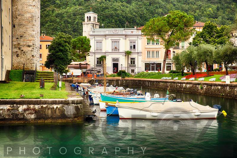 Boats in a Harbor Canal, Riva Del Garda, Lake Garda, Tentino Alto-, Italy